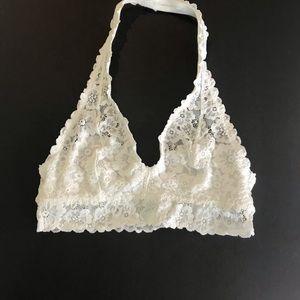 Aerie Halter Bralette White lace small